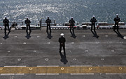 Uniforms Metal Prints - Sailors Man The Rails On The Amphibious Metal Print by Stocktrek Images