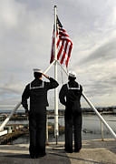 Uniforms Metal Prints - Sailors Raise The National Ensign Metal Print by Stocktrek Images