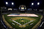 Baseball Field Art - Sailors Unfurl The Stars And Stripes by Stocktrek Images