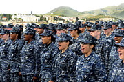 Us Navy Photos - Sailors Yell Before An All-hands Call by Stocktrek Images
