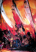 Pirates Mixed Media Originals - Sails And Pirates by Gerald Herrmann