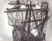 White Sails Drawings - Sails and Rigging by Tanya Crum
