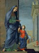 Virgin Mary Paintings - Saint Anne Leading the Virgin to the Temple by Jacques Stella