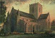 Evening Scenes Painting Posters - Saint Asaphs Cathedral Poster by Paul Braddon