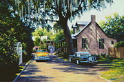 Old Cars Paintings - Saint Augustine by Frank Dalton