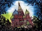 Moscow Drawings - Saint Basils Cathedral by Leah Harris