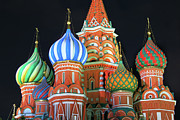 Dome Photos - Saint Basils Cathedral On Red Square, Moscow by Lars Ruecker
