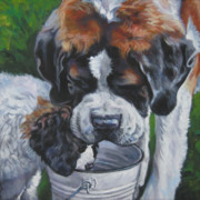 Dog Breeds R-s - Saint Bernard and pup by Lee Ann Shepard