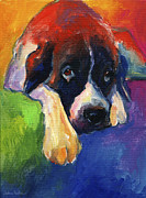 Blue Drawings - Saint Bernard Dog colorful portrait painting print by Svetlana Novikova