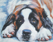 Dog Breeds R-s - Saint Bernard in snow by Lee Ann Shepard