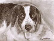 Puppy Mixed Media - Saint Bernard by Michael Mestas