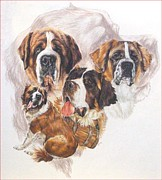 Saint Mixed Media - Saint Bernard with Ghost by Barbara Keith