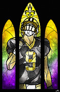 New Orleans Digital Art Posters - Saint Brees Poster by Mandie Manzano