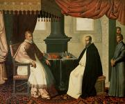 Zurbaran; Francisco De (1598-1664) Posters - Saint Bruno and Pope Urban II Poster by Francisco de Zurbaran