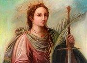 Saint Catherine Posters - Saint Catherine of Alexandria Painting Poster by Munir Alawi