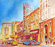 Quebec Cities Paintings - Saint Catherine Street Montreal by Carole Spandau