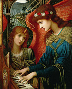 Playing Angels Framed Prints - Saint Cecilia Framed Print by John Melhuish Strukdwic
