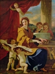 Drapes Paintings - Saint Cecilia by Nicolas Poussin