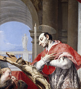 Crucified Prints - Saint Charles Borromeo Print by Giovanni Battista Tiepolo