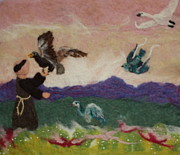 Swan Tapestries - Textiles Prints - Saint Francis and the Birds Print by Nicole Besack