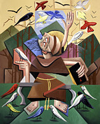 Poster Painting Originals - Saint Francis Sermon To The Birds by Anthony Falbo