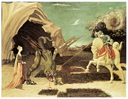 Saint George Framed Prints - Saint George and the Dragon Framed Print by Paolo Uccello