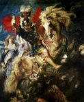 Armour Paintings - Saint George and the Dragon by Peter Paul Rubens