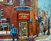 Greasy Spoon Restaurants Posters - Saint Henri Street In Winter Poster by Carole Spandau