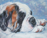 Dog Breeds R-s - Saint in the snow by Lee Ann Shepard