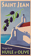 Vintage Travel Digital Art Framed Prints - Saint Jean Olive Oil Framed Print by Mitch Frey