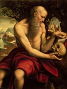 Saintly Framed Prints - Saint Jerome Framed Print by Cesare de Sesto