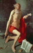 Knelt Paintings - Saint Jerome by Georges de la Tour
