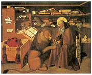 Lion Oil Paintings - Saint Jerome in his Study by Colantonio 