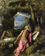Glass Paintings - Saint Jerome by Titian