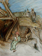 Scribe Paintings - Saint Jerome With Lion In An Italian Setting by Bruce Shane