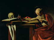 Portraiture Painting Framed Prints - Saint Jerome Writing Framed Print by Caravaggio