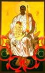 Saint John Posters - Saint John Coltrane Enthroned Poster by Mark Dukes