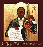 Saint John Coltrane. Black Christ Religion Framed Prints - Saint John the Divine Sound Baptist Framed Print by Mark Dukes