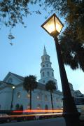 South Carolina Prints - Saint Johns Luthern Church At Night Print by Richard Nowitz