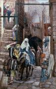 Land Painting Framed Prints - Saint Joseph Seeks Lodging in Bethlehem Framed Print by Tissot