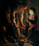 Industry Paintings - Saint Joseph the Carpenter  by Georges de la Tour