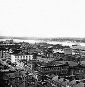 Aerials Framed Prints - Saint Louis Missouri - Aerial view of commercial district - c 1860s Framed Print by International  Images