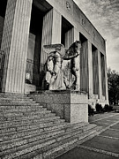 Stl Prints - Saint Louis Soldiers Memorial Exterior Black and White Print by Joshua House
