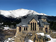 Mount Meeker Posters - Saint Malo Church and Mount Meeker in Colorado Poster by Brendan Reals