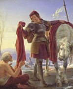Samaritan Paintings - Saint Martin and the Beggar by Alfred Sethel