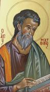 Byzantine Painting Prints - Saint Mathew Print by George Siaba