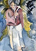 Angel Greeting Cards - Saint Matthew by Mindy Newman