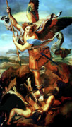 Devil Painting Posters - Saint Michael Overthrowing the Demon  Poster by Raphael