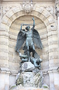 Michael Tapestries Textiles - Saint Michael the Archangel in Paris by Carol Groenen