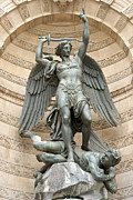 Joseph And The Angel Posters - Saint Michel striking down the dragon I Poster by Fabrizio Ruggeri
